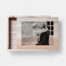 Perfect Natural Sliding lid Home Customized Wooden Photo album storage Box
