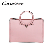 Pink Women Laptop full leather bag shoulder women leather tote bag