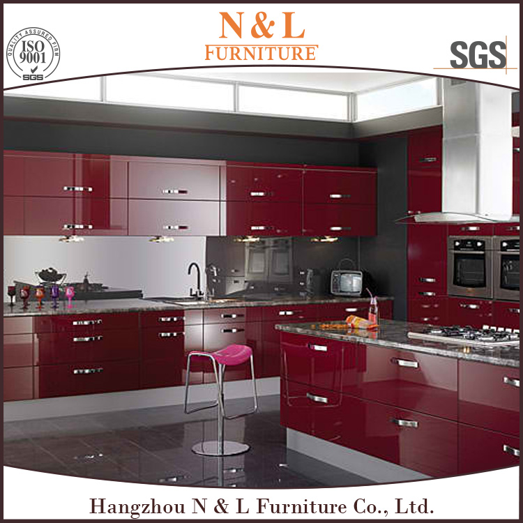 guangzhou factory acrylic UV PVC melamine precut high gloss white red kitchen cabinets