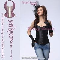 factory price hot sale plain black women satin corsets bodysuit black