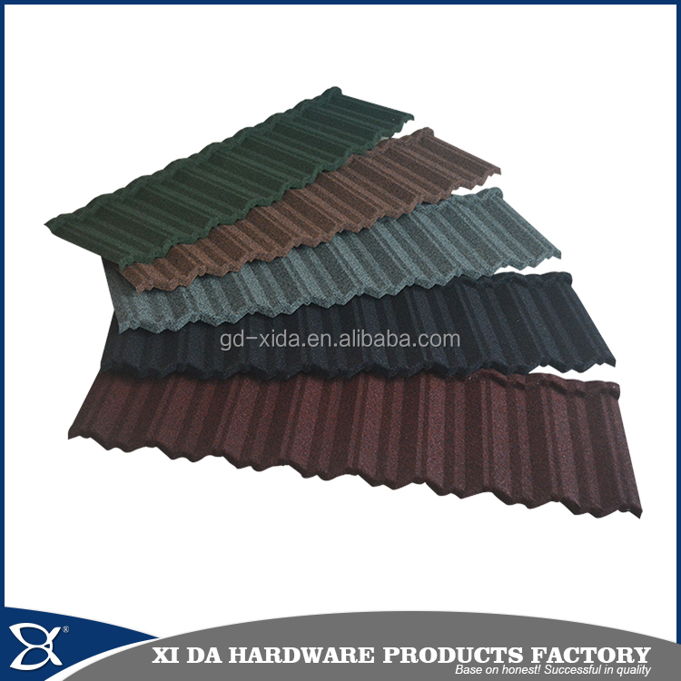 Stone chips coated steel tile /guangzhou building material /metal roofing price shingles