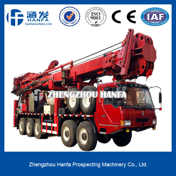 Powerful, safe, efficient!HFT1500 Truck-mounted all hydraulic rotary head speed hole drilling rig