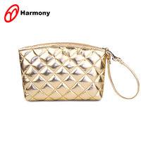 Shiny Golden quilted cosmetic train makeup beauty case