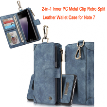 CASEME Case for Samsung Galaxy Note7 Inner PC 2-in-1 Metal Clip Split Leather Case Wallet Cover for Note7 Cover