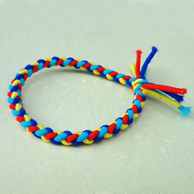 Colorful Pleating Style Hair Ties Elastic Hair Bands Hot-selling Womens Rubber Rope Rainbow Weave Ponytail Holder Hair