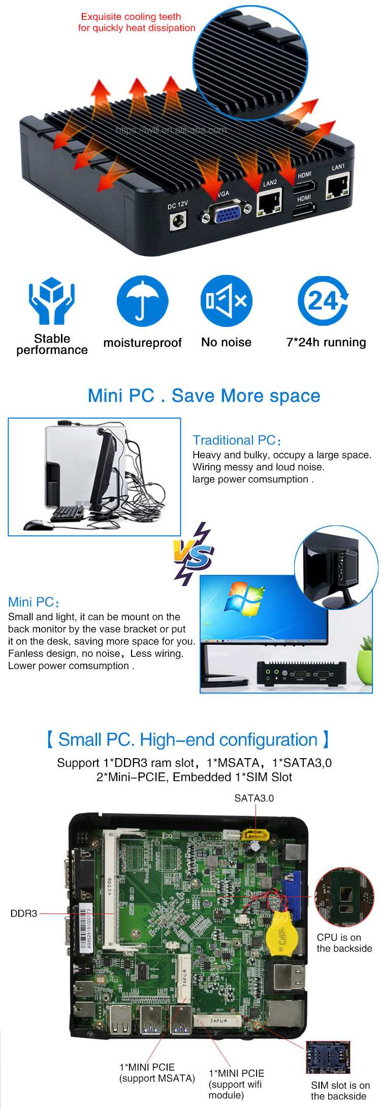 Fanless J3455 quad core nano itx gsm 2 ethernet mini pc with sim card slot