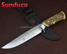 Wolf Columbia 3Cr13Mov Steel Blade Metal Bolster Roasted Bone Handle Damascus Satin Finish Fixed Blade Hunting Knife