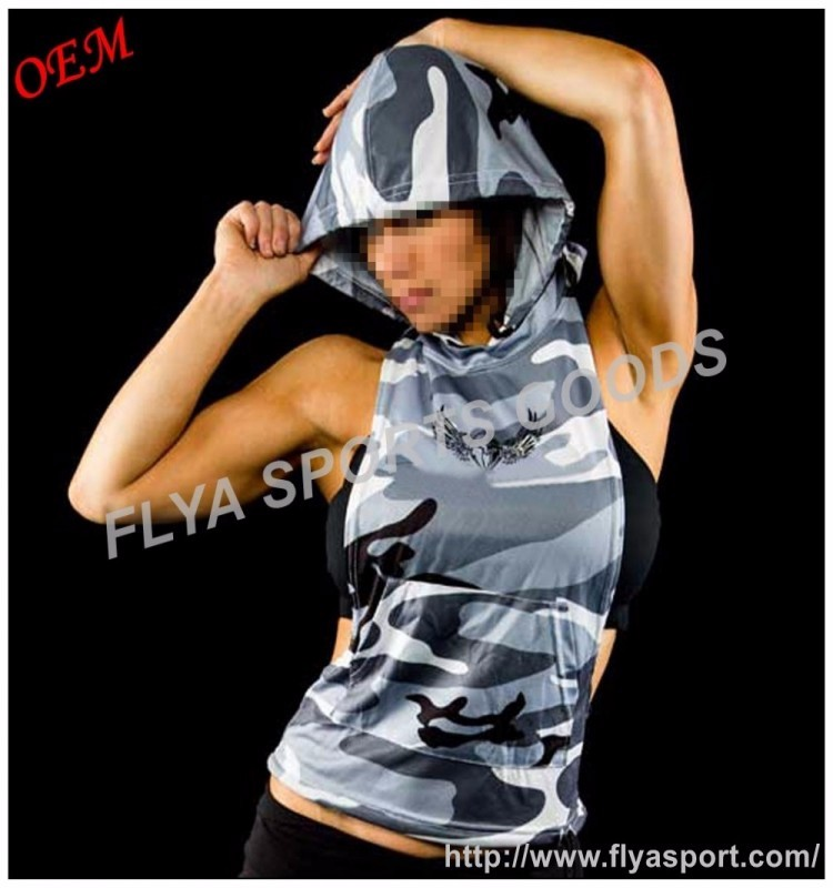 women camouflage sexy cut off bodybuilding sleeveless pullover fitted hoodie sweatshirts
