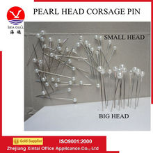Wholesale pure pearl white color plastic head straight collar lapel pin