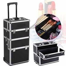 Rolling Aluminum 3 in 1 Cosmetic Case Trolley Makeup Beauty Box Case