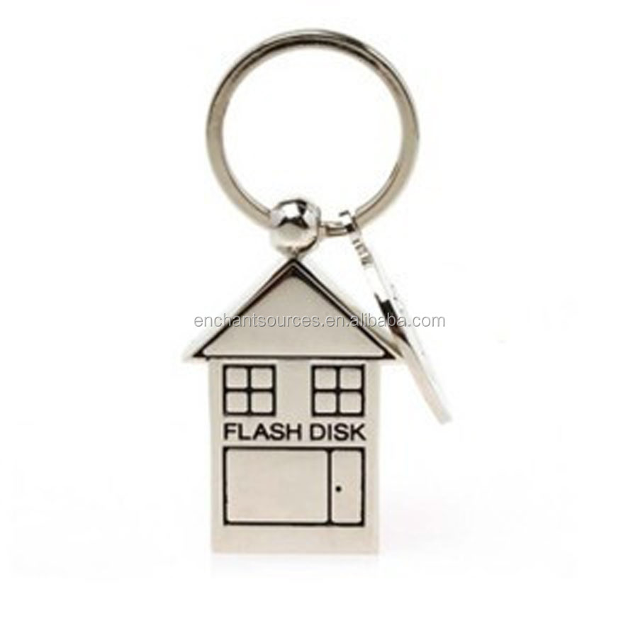 Novelty design keychain usb flash drive house with full capacity