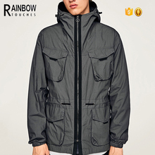 Men Winter Hooded Parka Down Jacket With Side Zip