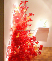 Handmade mouth blown large murano glass flower for wall decoration