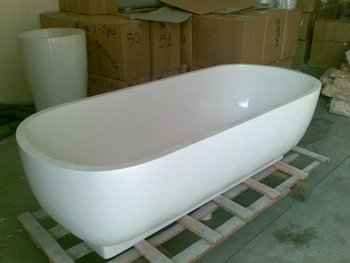 Terrazzo composite stone resin free standing bathtubs for Freestanding stone resin bathtubs
