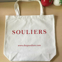 12 OZ half bleached cotton fabric shopping cotton bag with 1 color silk-screen printing