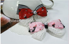 Hair Ribbon Bow With Lace Peals
