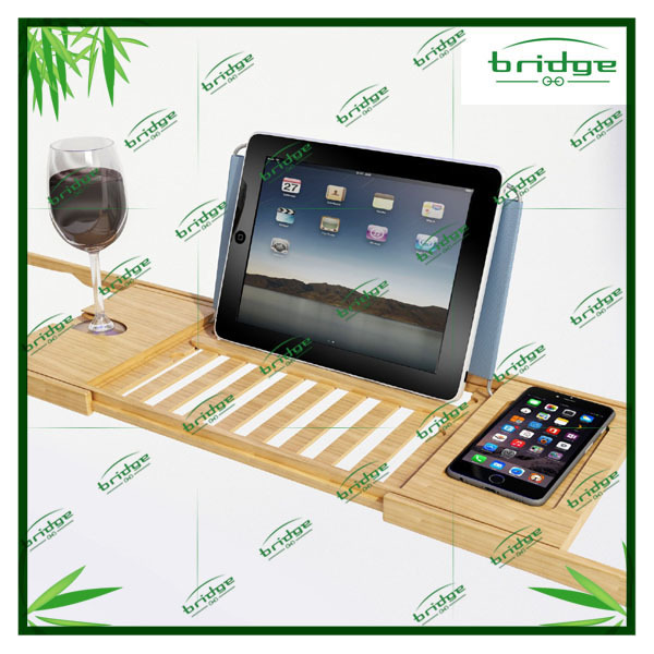 with Wood Bath Table Shelf Holds Tablet Book pad Phone and a Glass Luxury Bamboo Bathtub Caddy Tray bath caddy