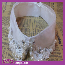 2015 Fashion white Collar lace bead collar/ beaded trim for garment accessories