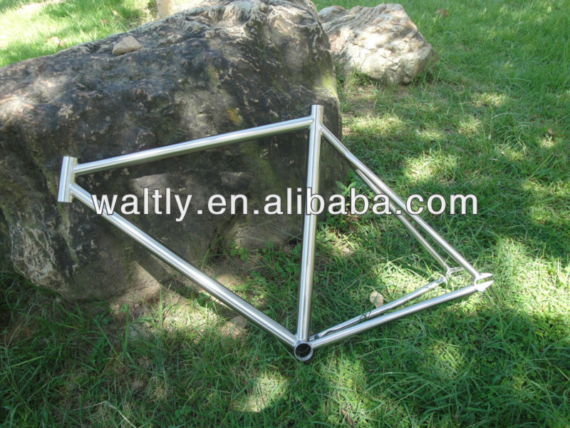 Brushed Aerospace Titanium Fixed Gear Bicycle Frame Gr9 road bike
