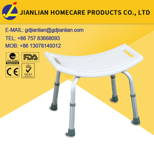 Height adjsutable folding aluminum modern bath bench aluminum plastic benches folding chair of shower JL797L