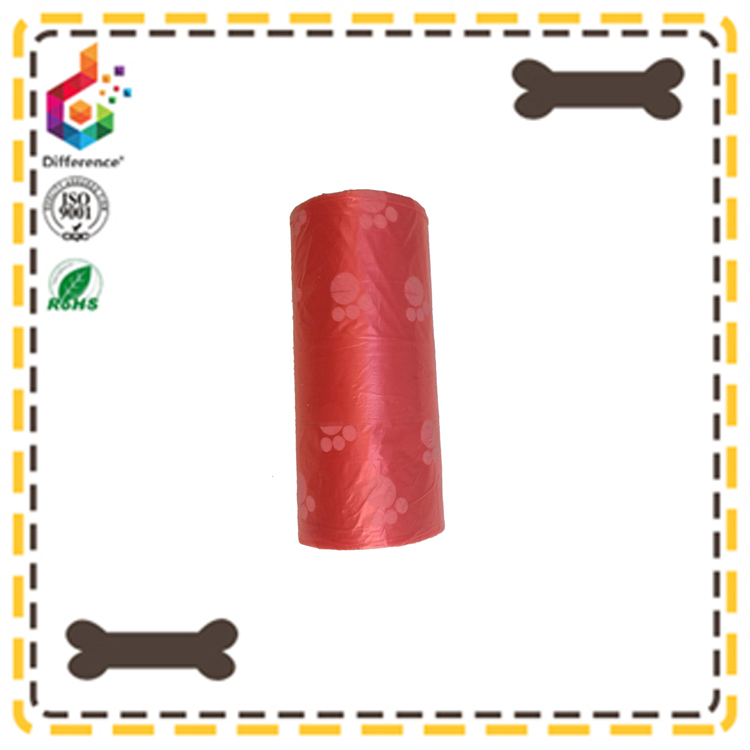 white dog foot printed red plastic dog waste bags