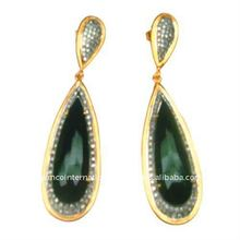 Gemstone Jewelry 14k Gold Natural Emerald Diamond Pave Drop Earrings