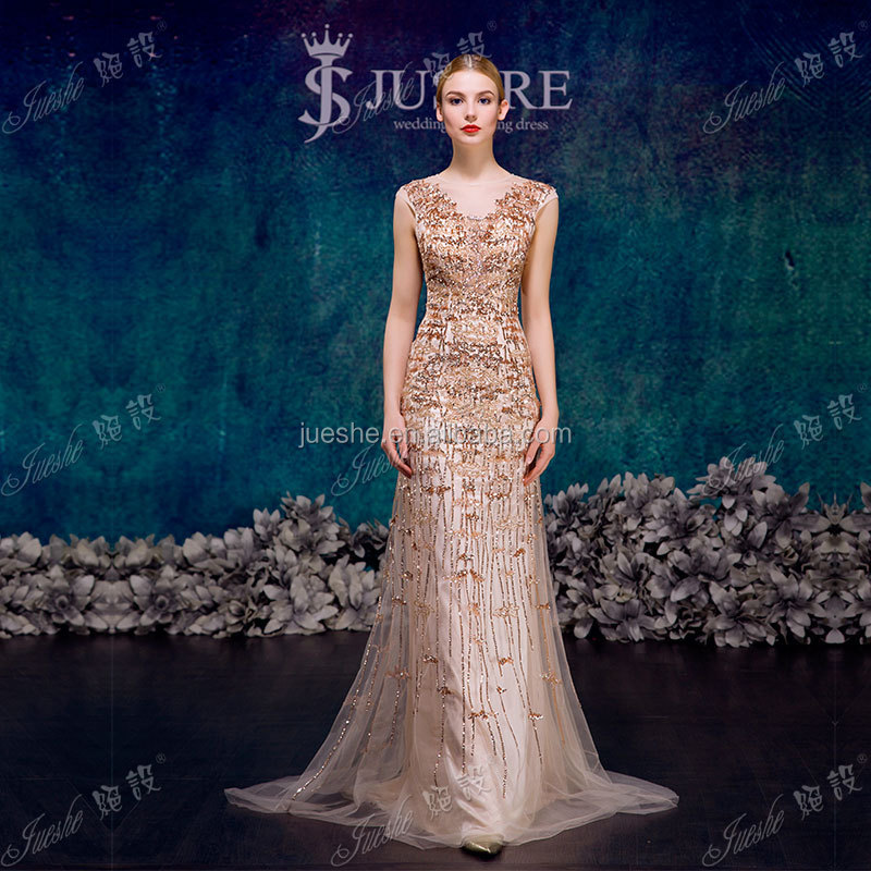 New Arrival Champagne Color Beaded Mermaid Sexu Back Open Evening Dress 2015 In Lebanon