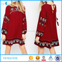Wholesale red color long sleeve loose dress embroidered cotton girls dresses