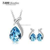 Fashion Jewelry Sets!T400 made with top quality Austrian Crystal,Necklace and Earrings for women,water drop #S009