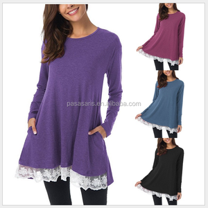 AL5134W Factory wholesale solid color round neck lady long top woman clothes new fashion ladies dress