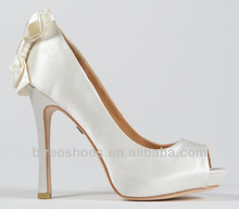 white wedding shoes high heel with bowknot