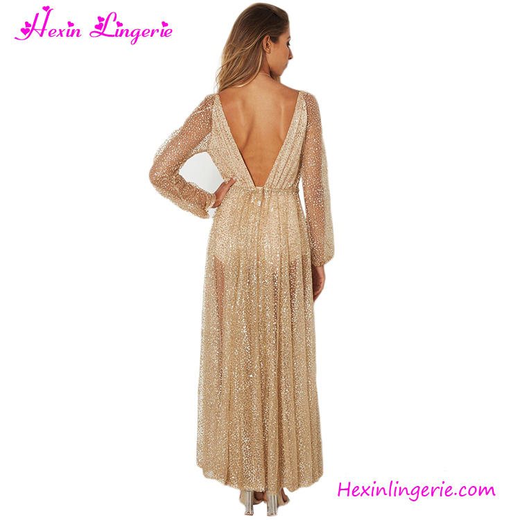 china transparent long split sleeves gold sequins sexy evening dress