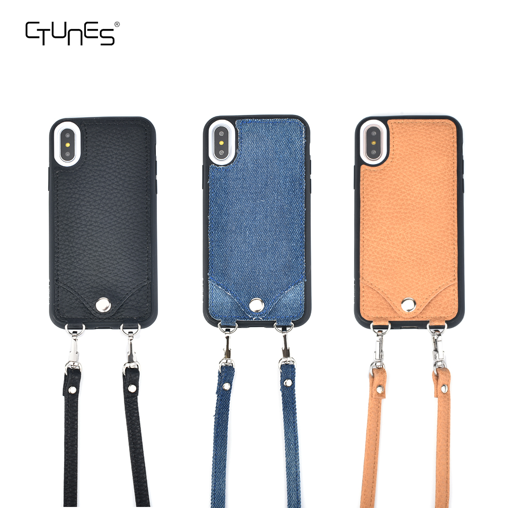 C&T Crossbody Leather Case Mini Cross Body Bag Card Holder with Shoulder Strap For iPhone X Case