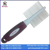 new product multi-color rubber handle optional double pet grooming comb for dogs