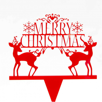 custom Merry Christmas santa claus with Sleigh and deer design with Low Moq cake toppers for new year party decor