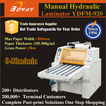 800mm Paper Width Hot Roll Film Hand Operating Manual Hydraulic Laminator