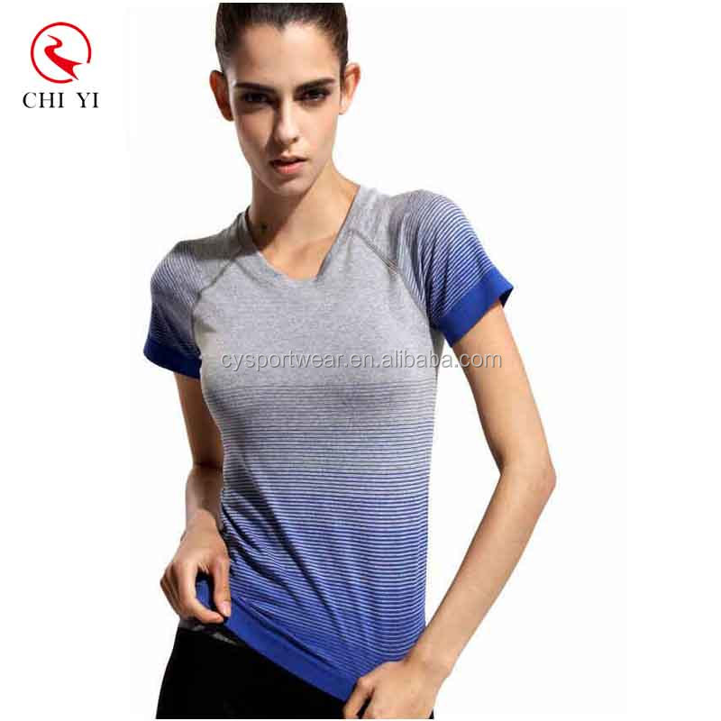 Custom Gym Compression Shirts Women Sport Dry Quick Running Short Sleeve t shirt printing Fitness Clothes Tees & Tops