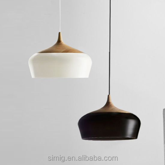 decorative wooden with black color vintage pendant lamp for E27 holder