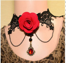 Europe and the joker big flower lace jewel necklace necklace