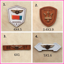 crab image brand name real badge for jacket jeans hat shose stitched patch fold leather label