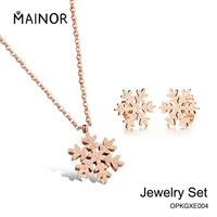 Wholesale Stainless Steel Jewelry Set Snowflake Design Necklace Earrings Set