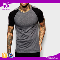 2016 Guangzhou shandao summer casual cut and sew short sleeves crew neck men slim fit t shirts bulk