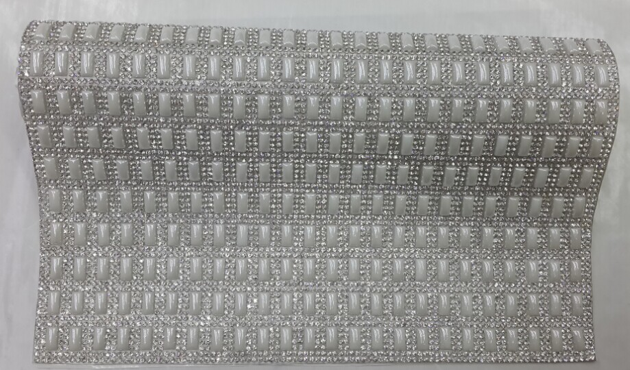 24*40cm hotfix 5*10mm ceramics pearl beads with clear crystal rhinestone sticket net for diy decoration