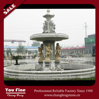 Large two tiers statues carved stone water fountain bases