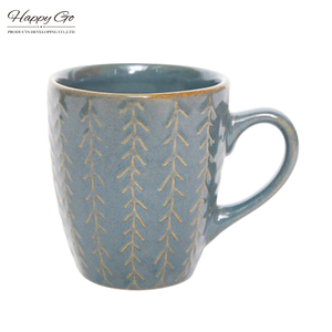Willow leaf collection hunan ceramic stoneware gray coffee cup embossed reactive glaze mug