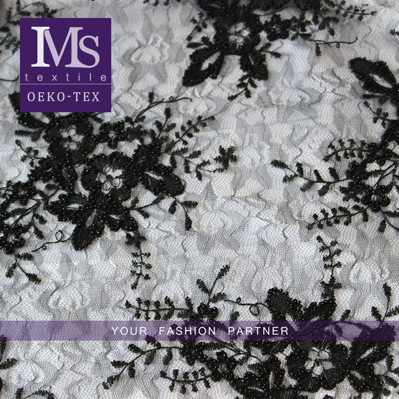 Custom-made elegant black bead swiss voile lace embroidered beaded dresses fabric