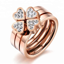 Fashion Gold Plated Stainless Steel Stackable Diamond Engagement Wedding Ring