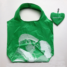 190T polyester recycled custom folding heart shape promotional shopping bag