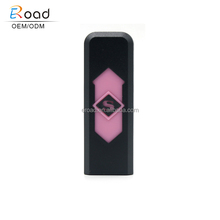 Wholesale windproof USB charging lighter keychain, custom ABS plastic electric lighter keychain