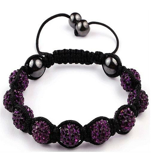 UK Clay Disco Beads Women Wholesale Jewelry Bracelets Cheap CZ Diamonds Bulk Shamballa Rhinestone Scotland dark purple